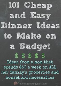 101 Cheap and Easy Dinner Ideas to Make on a Budget -- Are you tired of swinging open the refrigerator door after a long, hard day having no clue what you actually want to make for dinner? Unsure of w (Easy Meal On A Budget Diet) Budget Meal Planning, Cooking On A Budget, Easy Cooking, Inexpensive Meals, Cheap Dinners, Easy Dinners, Frugal Meals, Budget Meals, Frugal Recipes