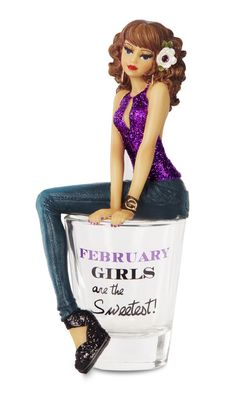 """Hiccup by H2Z 73710 """"February Girls are The Sweetest!"""" Shot Glass with 5-3/4-Inch Girl Figurine"""