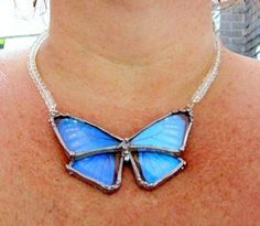Real Butterfly Jewelry, Blue Morpho, Clear Faceted Crystal Necklace. $146.00, via Etsy.