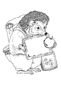 A Hedgehog And An Apple Animal Coloring Pages