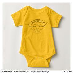 Luckenbach Texas Baby Onesie for Newborns vintage antique boho chic. Austin Dallas Houston Gifts Blue Luckenbach Texas Brushed Gold Look Longhorn Skull T-shirt