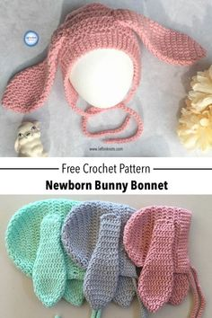 Crochet Bunny Bonnet Free Pattern — Left in Knots Use this free crochet pattern to crochet modern newborn bunny bonnet. Baby and children's sizes Crochet Easter, Bunny Crochet, Crochet Baby Bonnet, Crochet Baby Clothes, Crochet For Kids, Knit Crochet, Crochet Hooks, Crochet Baby Stuff, Crochet Children