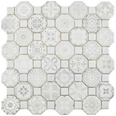 """EliteTile Edredon 12.25"""" x 12.25"""" Ceramic Field Tile in White"""