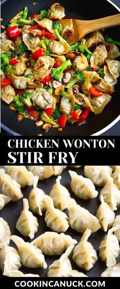 This 30-minute chicken wonton stir fry uses store-bought wontons and a quick homemade stir fry sauce. It's packed with veggies and flavor! 213 calories and 5 Weight Watchers SP | Recipe | Recipes | Quick | Easy #wonton #stirfry #weightwatchers
