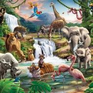 This Walltastic childrens Jungle theme bedroom wallpaper mural is great, and for boys & girls of all ages alike. Just look at the amount of Jungle animals in this scene! Childrens Bedroom Wallpaper, Bedroom Wallpaper Murals, Kids Room Wallpaper, Animal Wallpaper, Wall Wallpaper, Wall Murals, Nursery Murals, Wallpaper Wallpapers, Jungle Theme Nursery