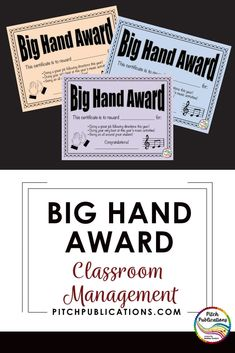 I have used the Big Hand Award system since my beginning days as a student teacher! Kids love it and it is just so simple! AND it's free!!! #elmused #pitchpublications #classroom management #musiceducation