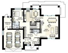 Projekt domu Verona IV (Domowe klimaty) Verona, Floor Plans, Projects, Log Projects, Floor Plan Drawing, House Floor Plans
