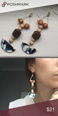 Lovely wood mix earrings Beautiful and light handmade earrings Jewelry Earrings