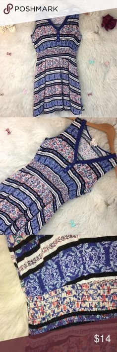 🦄BOHO FLORAL STRIPED DRESS ELASTIC WAIST Many different patters to make quite the unique dress. Pretty thick overall when you include the lining . ⬇️⬇️⬇️  PLEASE READ  Any clips/ accessories you see in the photos aren't included UNLESS otherwise stated.   If you aren't familiar with a particular brands sizing , comment below and I'll gladly provide them. Self Esteem Dresses Mini