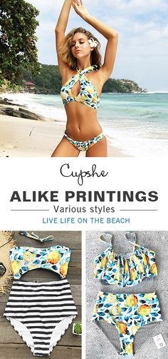 Have some fun in the sun~ Falling in love with sweet print bikinis. Feel the genial breezes and meet tropical waves. Listen, the sea is calling! Check them at cupshe.com