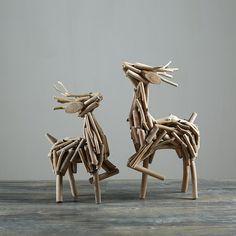 Deer 100% Handmade Natural Wood Figurines (2 sizes)