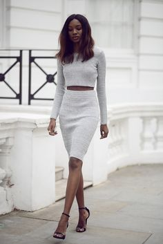 Simple grey matching crop top with skirt. Fashion, outfit, streetwear