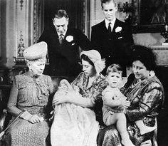 Princess Anne's Christening, Buckingham Palace. King George V1,Duke of Edinburgh,Queen Mary, Princess Elizabeth, Charles & Queen Elizabeth.