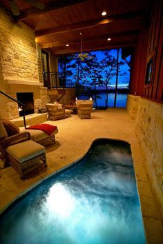 The garden pool is something to enjoy and cool in the hot days. The indoor swimming pool can successfully replace the gym. We have a rich collection of 105 Indoor Pools, Indoor Jacuzzi, Lap Pools, Backyard Pools, Pool Decks, Garden Pool, Pool Landscaping, Spa Bathroom Design, Bathroom Spa