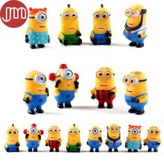 Find More Action & Toy Figures Information about New 16 PCS Minions Toys Yellow 3D Eye Action Figure Despicable Me 2 PVC Cartoon Mini Doll…