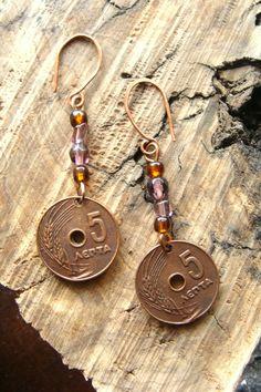 Σκουλαρικια boho bronze με νομισματα 10€ Boho, Personalized Items, Bohemian