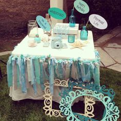 Photo props at an under the sea birthday party! See more party planning ideas at CatchMyParty.com!
