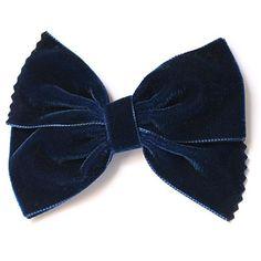 Lazo para el pelo de terciopelo azul marino.