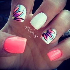 Pink, white, flower nails