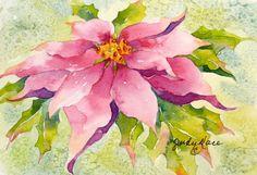 pink poinsettia original holiday Christmas watercolor greeting card