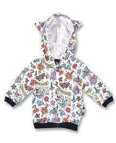 Six Bunnies Baby Jacket Cute Flash Tattoo Sweater Hoodie Rockabilly Punk 6-12m