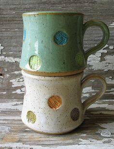 Polka Dot Pottery Mug - Multi Color - Shorty Stout Mug - Stoneware Mug - Coffee Cup - Tea - READY TO SHIP
