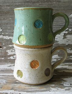 Polka Dot Pottery Mug Multi Color Shorty Stout by DragonflyArts