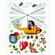 Kisvakond gyerekszoba falmatrica, helikopteres (65 x 85 cm)