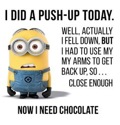 Minions: My kind of exercise push ups and diet. #DianaDee :) - FUNKY MOOD LIFTERS - https://www.pinterest.com/DianaDeeOsborne/funky-mood-lifters/ - SOURCE on Facebook by 96.9 MORE FM: https://www.facebook.com/969morefm/photos/a.133410627135.117999.112855152135/10152681925132136/?type=3&theater