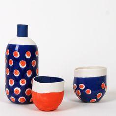 bouteille & bols (porcelaine + émail + engobe)