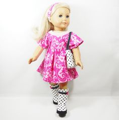 American Girl 18 inch Doll Dress Pink Damask