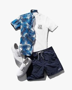 Summer 16 Outfits: Esquina palm print shirt, NY slash tee, Timothy swim short, Jay canvas shoes #saturdaysnyc