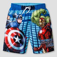 Boys' Avengers/Iron Man Swim Trunk Blue/Red XS, Multicolored