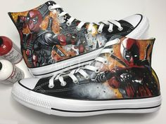a163d315c4 Custom Painted Deadpool inspired Converse Hi Tops shoes sneakers.Advance  listing for painting from Jan