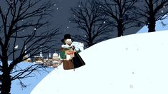Sir Francis collects snow to stuff inside the chicken.