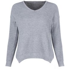 Grey Drop Shoulder Long Sleeve Big Needle Casual Sweater (110 BRL) ❤ liked on Polyvore featuring tops, sweaters, long sleeve tops, long sleeve sweater, grey top, drop shoulder sweater and gray top