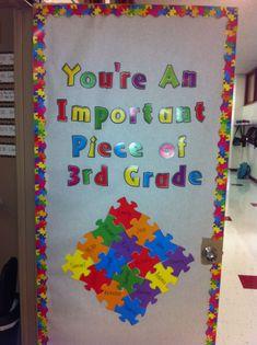 My classroom door! Classroom Door Displays, School Displays, Classroom Bulletin Boards, Autism Classroom, Kindergarten Door, Preschool Door, Preschool Classroom, Classroom Themes, Class Decoration