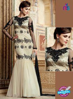 Heer 3209 Beige and Black Color Net Gawn