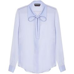 Rochas Neck-tie silk-crépe blouse (5,515 MXN) ❤ liked on Polyvore featuring tops, blouses, shirts, blue, blue collar shirt, silk shirt, silk blouse, tie-neck blouses and neck-tie