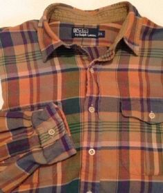Vintage Ralph Lauren Polo Country plaid shirt LARGE suede elbow patches #RalphLauren #ButtonFront