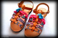 Girls Boho Sandals MIRTO'' Girls Gladiator by jvFairytales Greek Sandals, Gladiator Sandals, Leather Sandals, Pom Pom Sandals, Boho Outfits, Daily Wear, Most Beautiful, Trending Outfits, Unique Jewelry