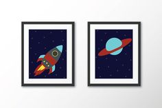 Items similar to Rocket and Planet Wall Art - Space Ship Art Print - Outer Space Decor - Space Themed Nursery - Boys Room Decor - Printable Art - Graphic Art on Etsy Space Themed Nursery, Nursery Themes, Boys Room Decor, Boy Room, Outer Space Decorations, Spaceship Art, Printable Art, Planets, Graphic Art