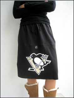 Pittsburgh Penguins Recycled T Shirt Skirt / Black Cream by ohzie