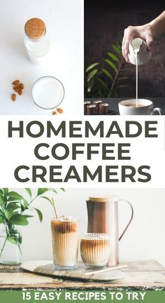 Enjoy healthy homemade coffee creamer in your espresso at home with one of these quick and easy coffee creamer recipes. From flavored sugar free coffee creamer recipes to vegan coffee creamer with almond milk and healthy pumpkin spice coffee creamer, you are sure to find a new favorite in our list of homemade coffee creamer recipe ideas | Dairy free coffee creamer | Keto coffee creamer