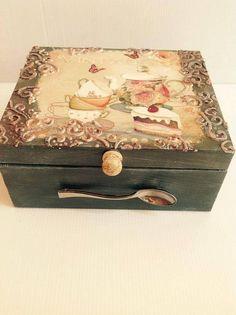 Tea Box, Wooden Decoupage Box, Handmade Tea Box, Shabby Chic, Tea Bag Storage Box, Kitchen Box