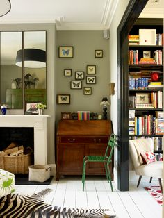 A colourful London home - eclectic - Family Room - London - Turner Pocock - Love the writing desk and decor above Eclectic Design, Eclectic Decor, Interior Design, Eclectic Bedrooms, Eclectic Style, Small Living Rooms, Home And Living, Living Room Decor, Victorian Living Room