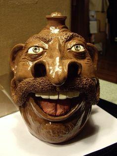 """Mamma Mia"", face jug, potter Kay Bevan, Four Paw Pottery, Randolph Co., NC"
