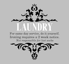 Laundry Wall Decal Laundry-Same day service do by EyeCatcherDecals