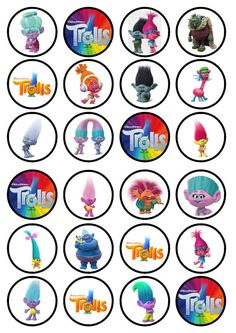 Trolls Edible Wafer Rice Paper Cake Cupcake Toppers x 24