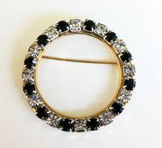 "Vintage Clear Black Rhinestone Circle Gold Tone Pin 2-5/8"" Diameter #NotSigned"